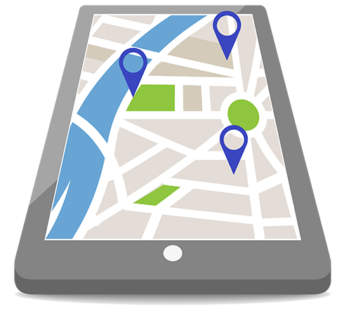 A map on a tablet representing communities served by your Maryland dentist