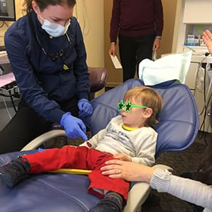 Actual child patient at The Silberman Dental Group to receive our dental services