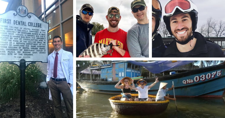 Collage of Dr. Barakh doing things he loves like fishing, traveling, etc.