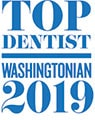 Top Dentist Washingtonian 2019 logo showing award given to Dr. Silberman a dentist in Waldorf MD