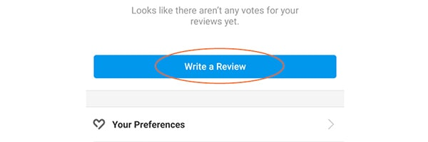 How to write a review on Yelp step 2 for mobile users