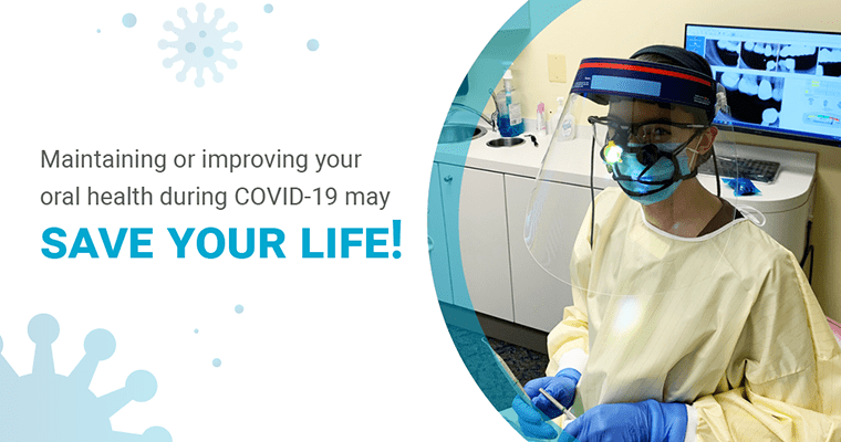"""Hygienist, Kerry, with text, """"Maintaining or improving your oral health during COVID-19 may save your life!"""""""