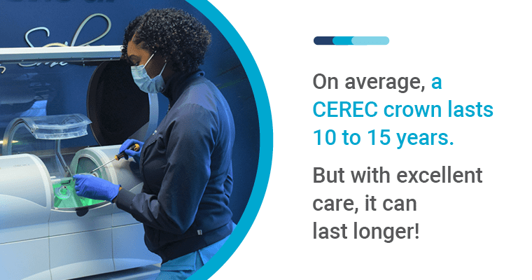 On average, a CEREC crown lasts 10 to 15 years. But with excellent care, it can last longer!